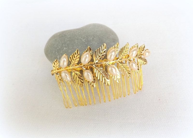Gold leaf hair comb decorated with Ivory leaf pearls. Grecian Hair comb. Bridal/ Bridesmaid grecian head piece. Wedding Hair Accessories. by MissLaceWedding on Etsy