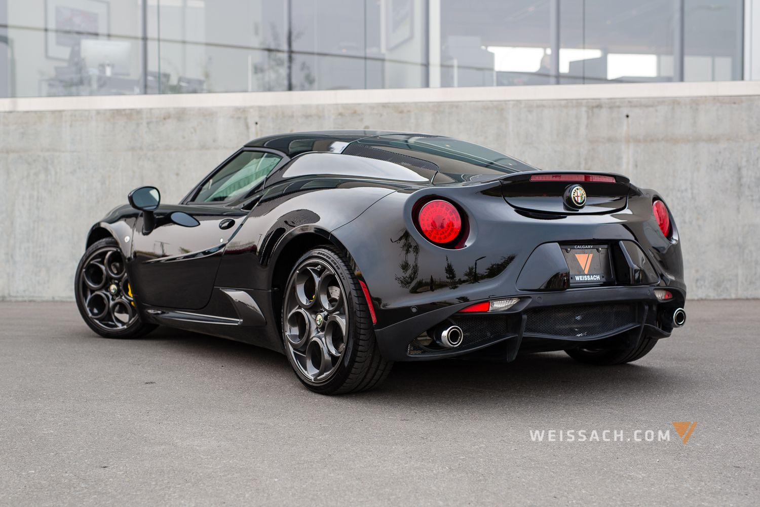 black finish, with black interior. the alfa romeo 4c coupe, is