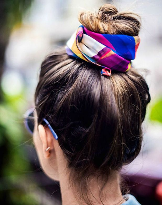 10 Fresh Ways To Wear A Silk Scarf Hair Styles Hairstyle Examples Long Hair Styles