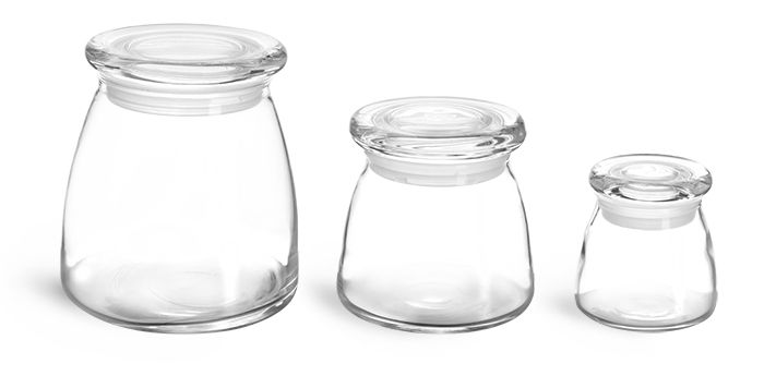 glass jars clear glass candle jars w glass flat pressed lids - Glass Containers With Lids