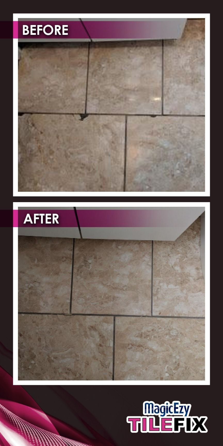 Before And After Result Of Tile Repairezy Howtorepairtiles Magic Ezy Chip Fix Marine Tex Polar Marine Tex R In 2020 Cracked Tile Repair Tile Repair Ceramic Floor Tile