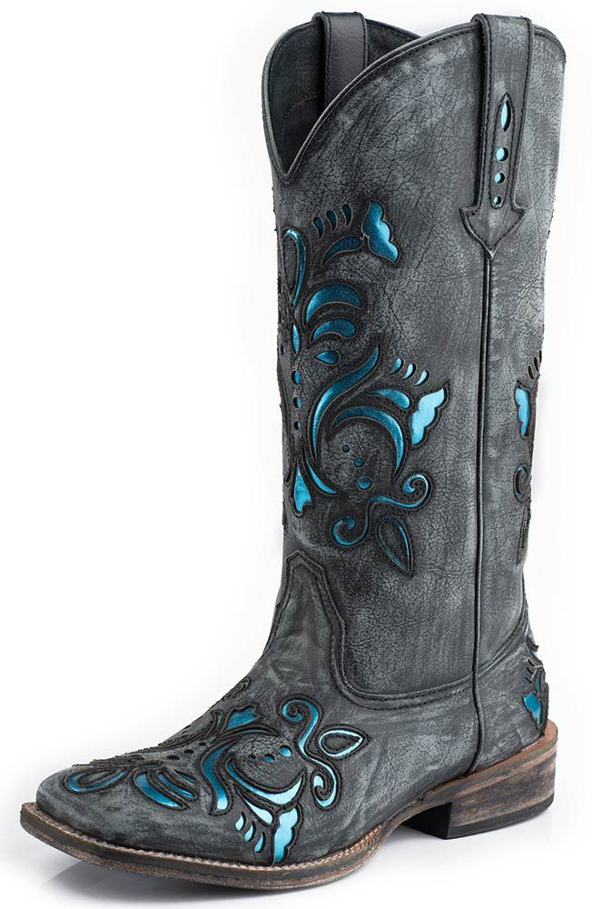 Roper Womens Blue Metallic Underlay Square Toe Boots - Black ...