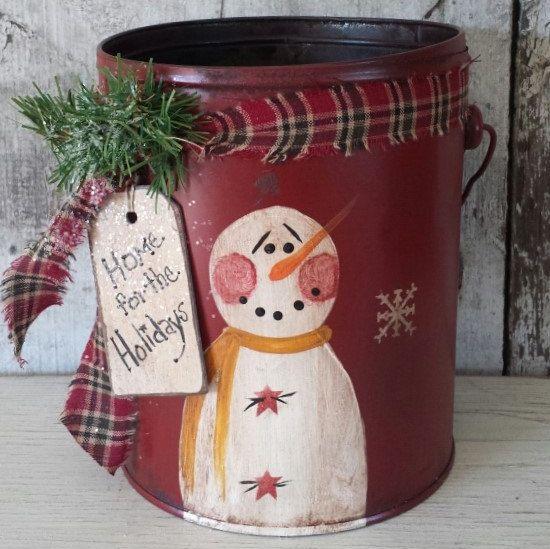 Primitive Snowman on Vintage Pail,Primitive Snowmen,Metal Snowman,Painted Snowman,Rustic Snowman,Country Snowman,Vintage Pail by FlatHillGoods on Etsy