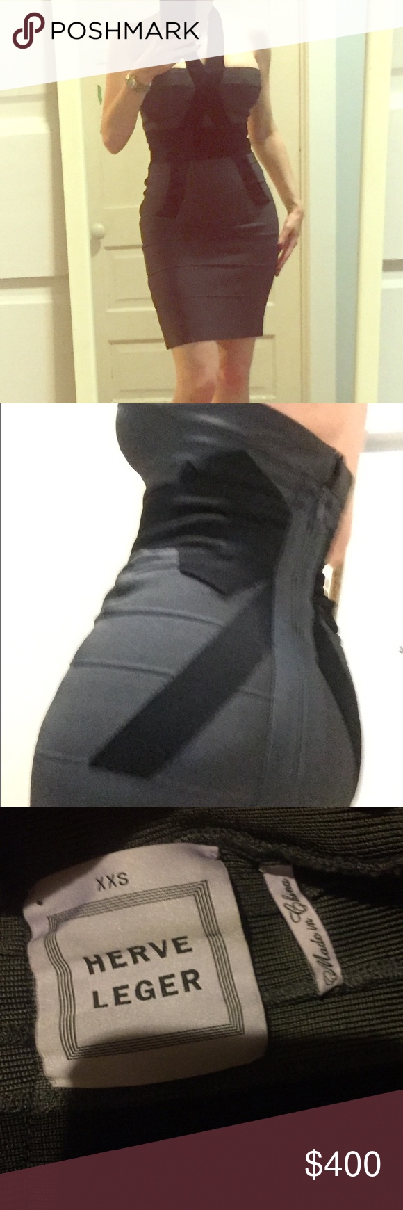 "Herve Leger gray bow bandage dress XXS Herve Leger size XXS gray bodycon bandage bow dress, authentic, EUC. Haven't worn in ages and just been in my closet kept inside out, no flaws but the tag is a little loose. I'm 5'1"" for size reference. This one fits bigger than some Herve Leger XXS. I'm not as rail thin as I used to be and still fits great. Herve Leger Dresses Mini"