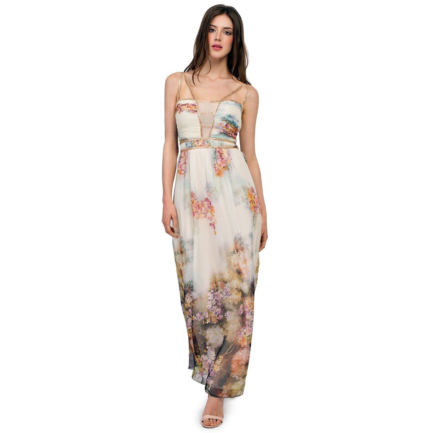 London Dress Company women's Maxi Dress with Floral Print Detailing  | Overstock.com Shopping - The Best Deals on Evening & Formal Dresses