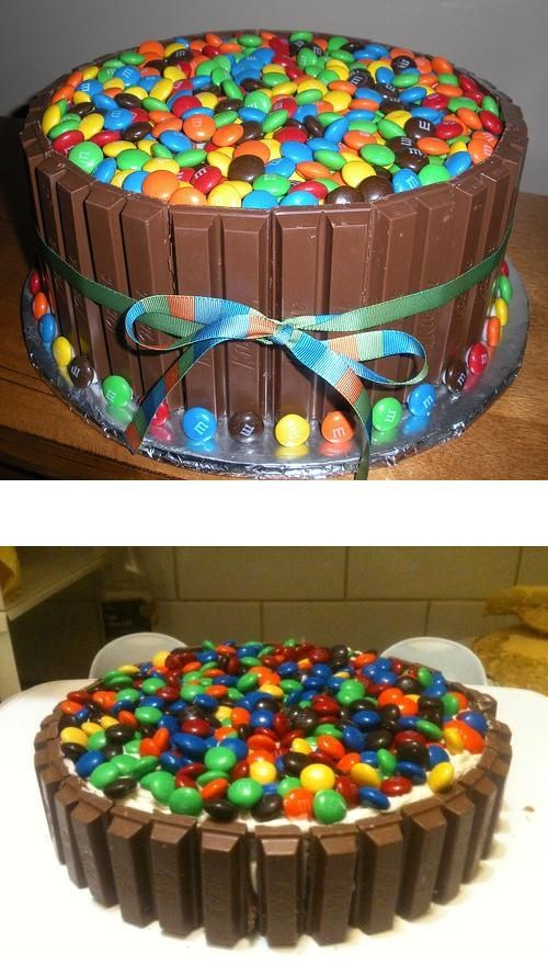 The Candy Cake Kit kats and MMs Surround a simple 2 layer round