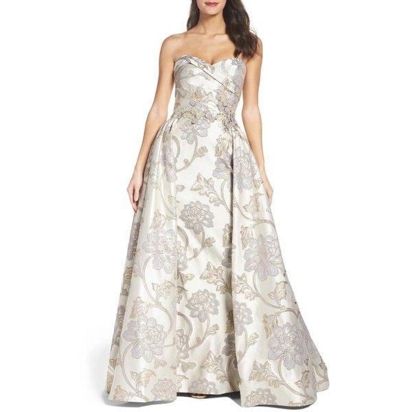 Brocade fabric white ivory x metallic silver 44'' wide BRO700[5]