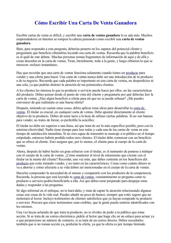 cartas de venta  Cómo Escribir Una Carta De Venta Ganadora by Fernando Amaro via ...