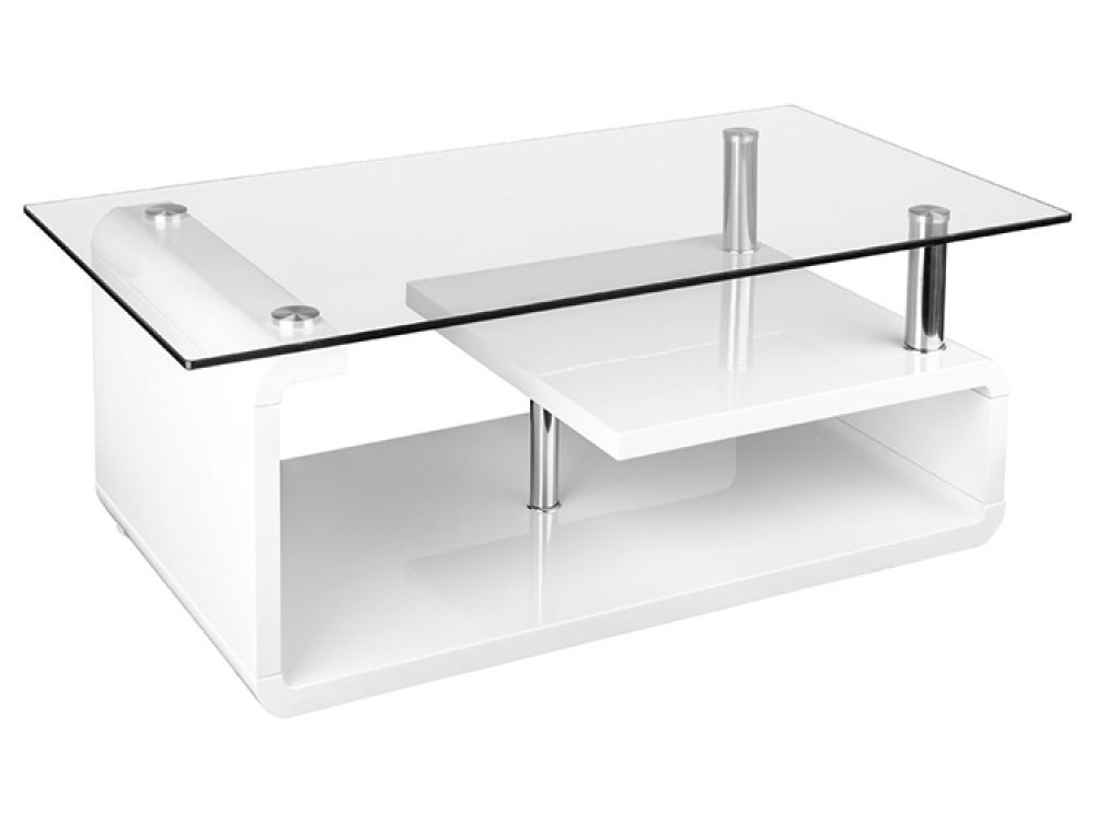 White Gloss Glass Coffee Table Centre Table Living Room Table
