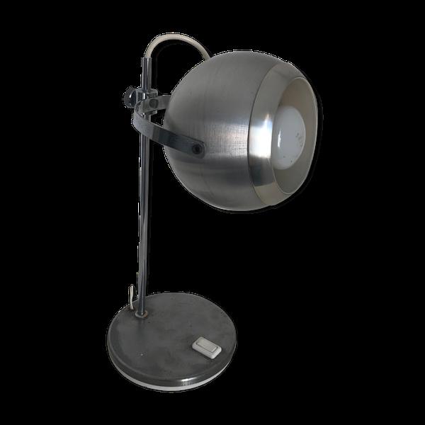 Lampe de table globe oculaire aluminium brossé 1960   – Products