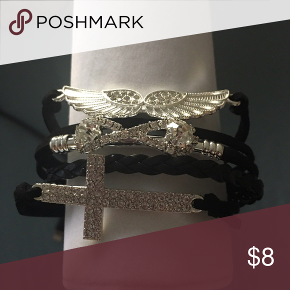 """Cross infinity wings bracelet Bracelet from clasp to first eyelet 7"""" last eyelet 9"""" beautiful and blingy Jewelry Bracelets"""