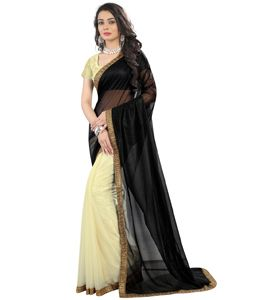 Buy Black Lycra Half and Half Saree With Blouse 74882 with blouse online at…