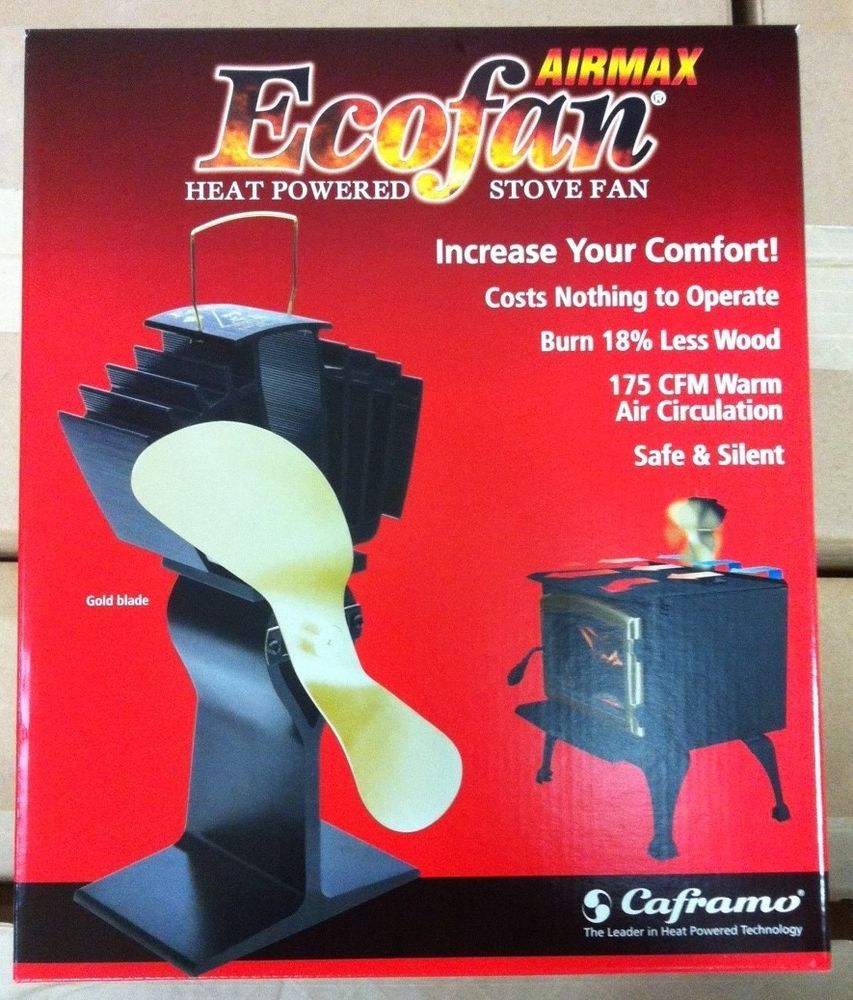 Heat powered fans for wood stoves - Caframo 812ambbx Ecofan Airmax Heat Powered Wood Stove Fan Gold Blade 812am Bbx