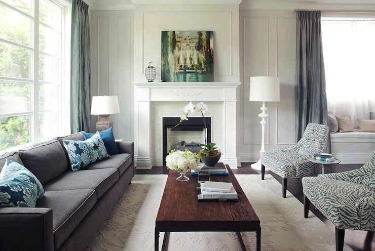 Kelly Deck Design Living Rooms Gray Sofa Velvet Sofa