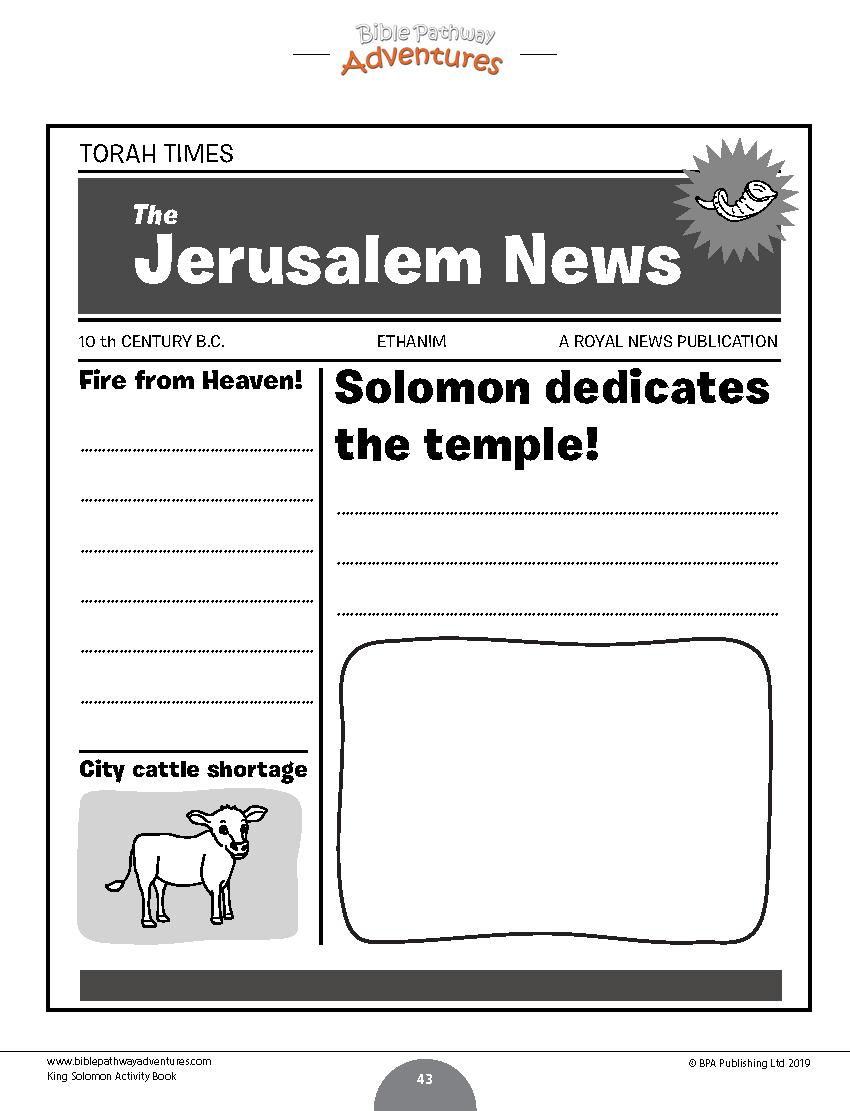 King Solomon newspaper activity sheet for kids | Solomon ...