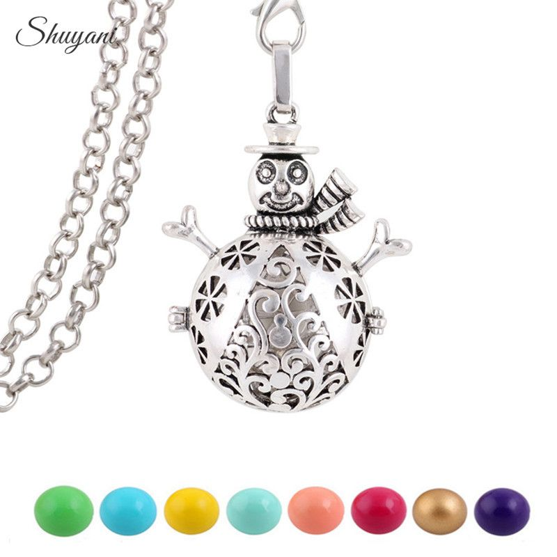 10PCS Openable Harmony Ball Snowman Pendant for Pregnant Women Hollow Angel Baby Bola Cage Locket Necklaces Christmas Gifts