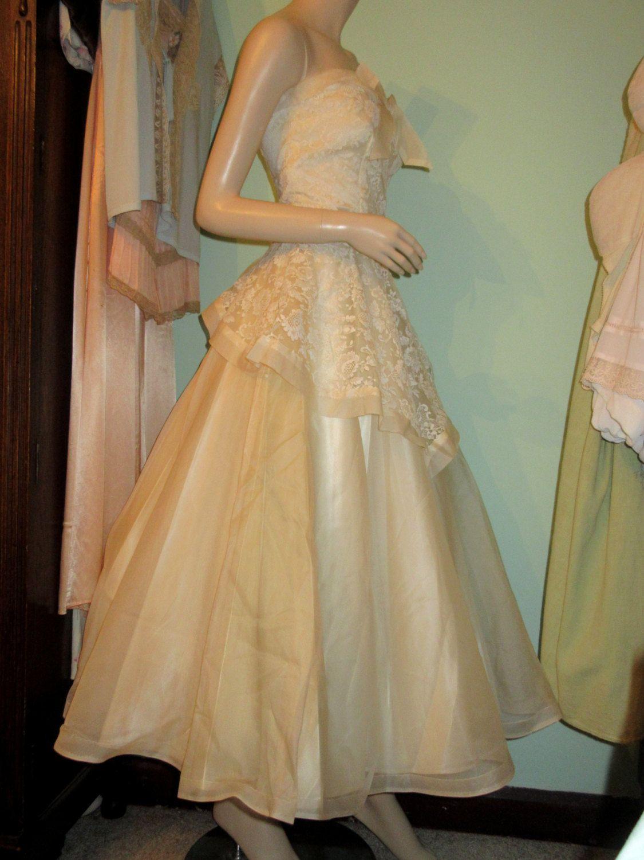 Amazing Original Vintage 1950\'s Ivory Satin Lace Wedding Dress ...