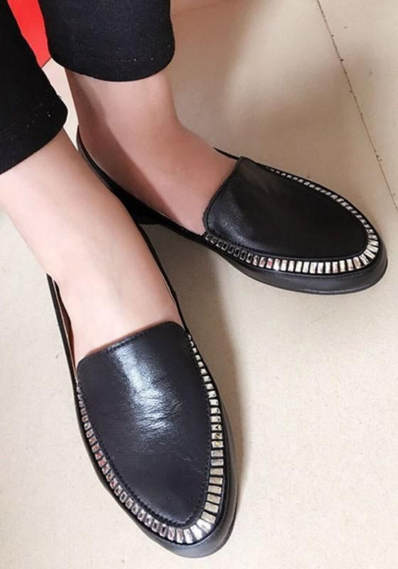 f33b16bd3 Black Round Toe Casual Rhinestone Flat Shoes
