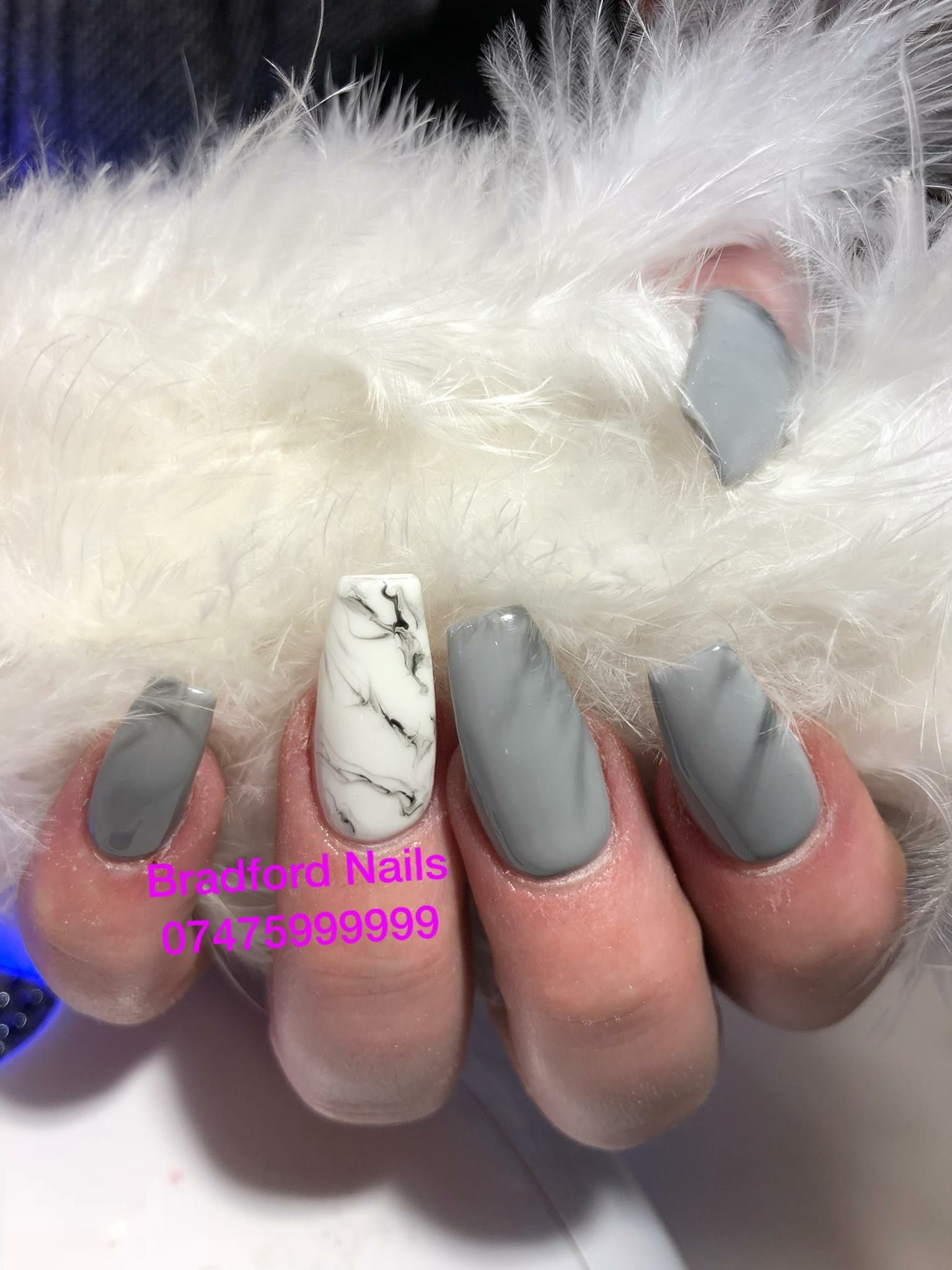 Grey And Marble In Coffin Shape We Locate In Bradford City Centre Bd1 3qq Next To B M Wilko Car Parking Around Chloe Nails Glitter Nails Acrylic Nails