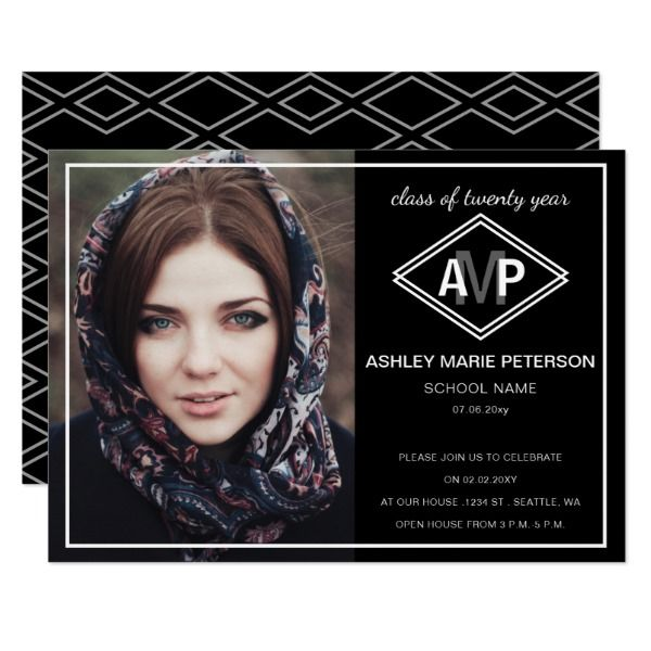 Diamond Dreams Elegant Graduation Announcement Invites Invitations