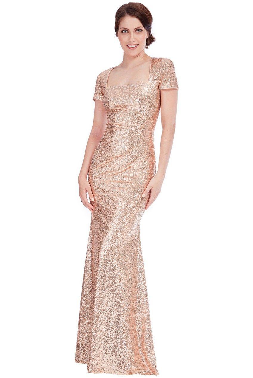 Sequin-Portrait-Neckline-Maxi-Dress-Champagne-Front-DR335 ...