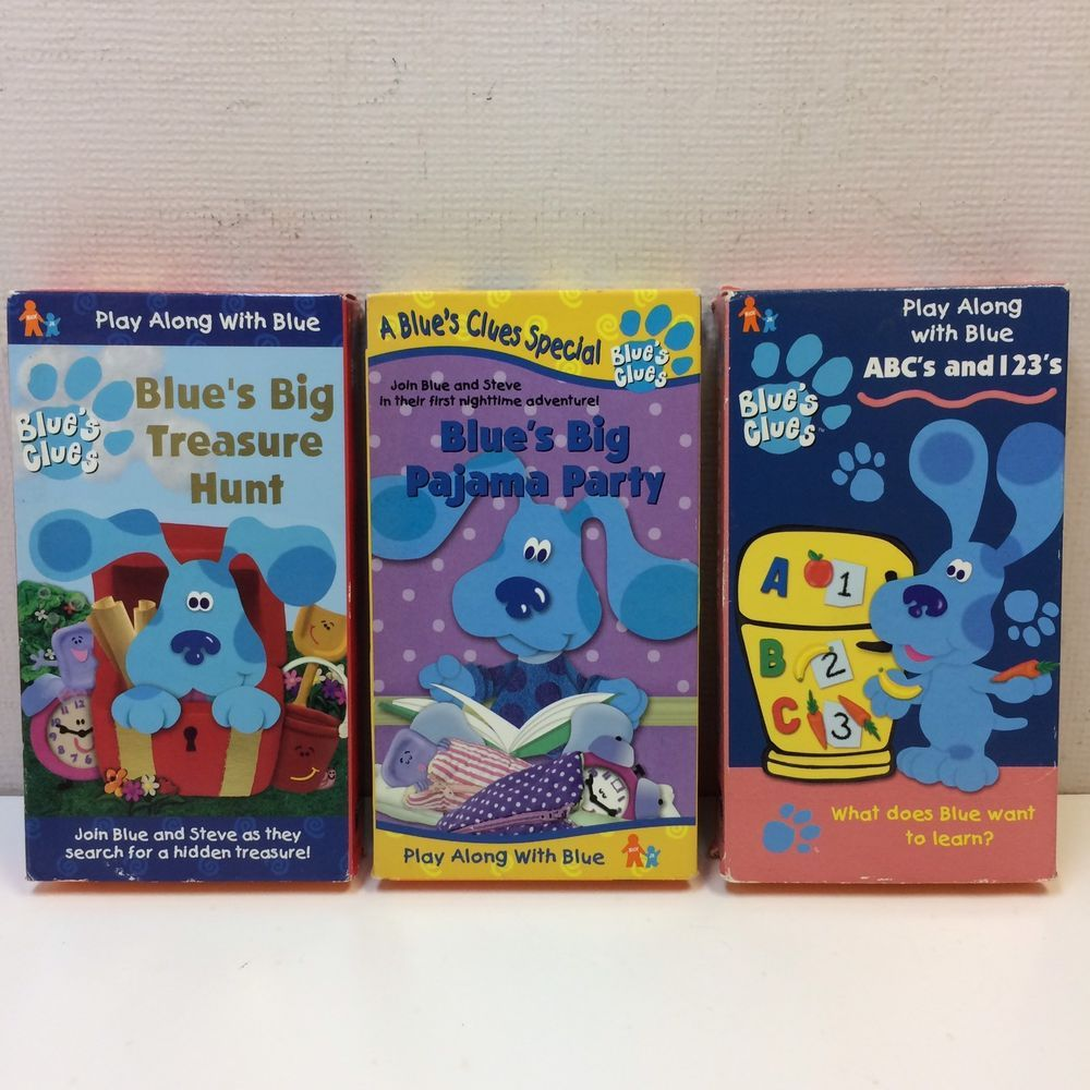 Lot Of 3 Blue S Clues Vhs Big Pajama Party Treasure Hunt Abc S And