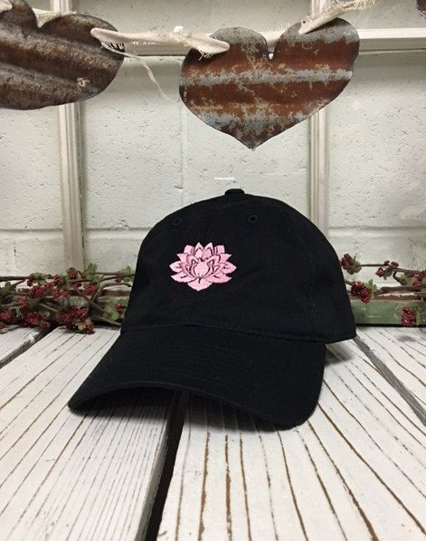 LOTUS FLOWER Baseball Hat Low Profile Embroidered Baseball Caps Dad Hats  Black ✷ Baseball Cap ✷ 37fbb5055b78