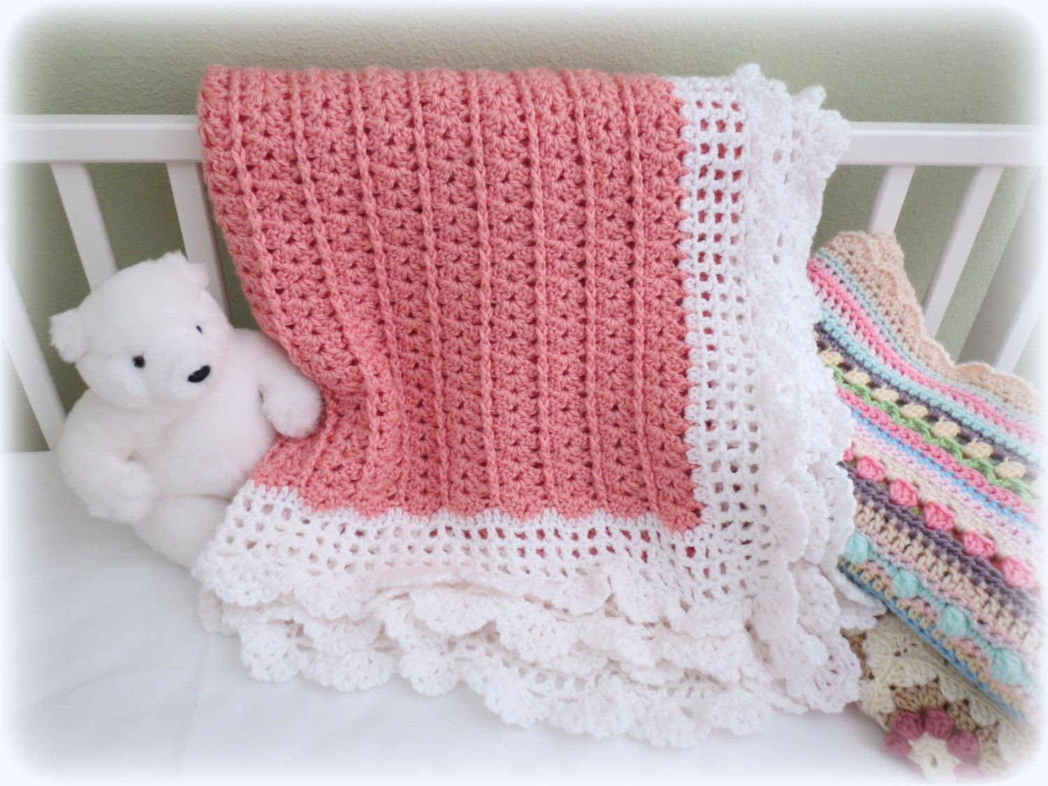 Charming little blanket with a lightly ruffled border will be a ...