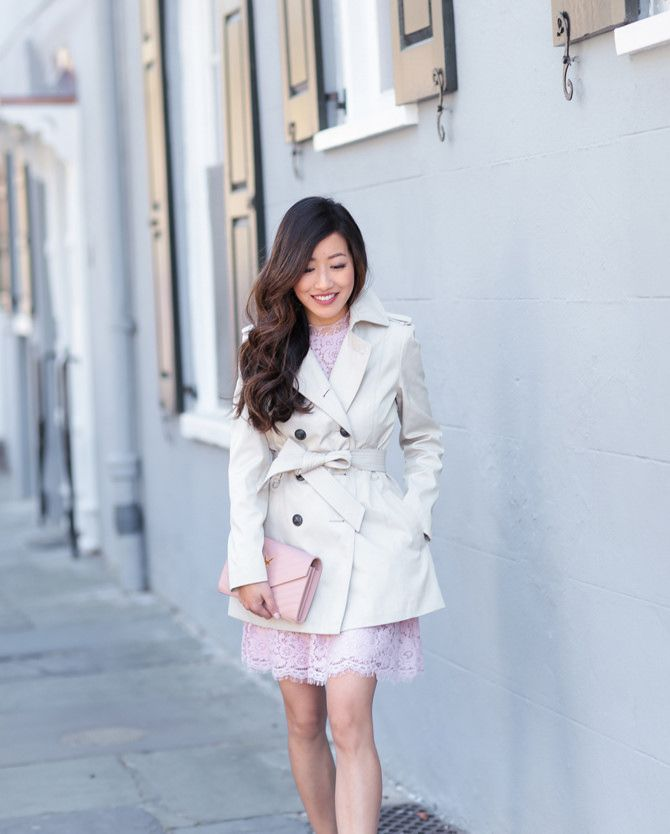 Express Petites // Spring Trench Coat   Pink Lace Dress | Trench ...