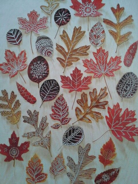 Autumn art! Press leaves for ten days, then draw on them with metallic markers.