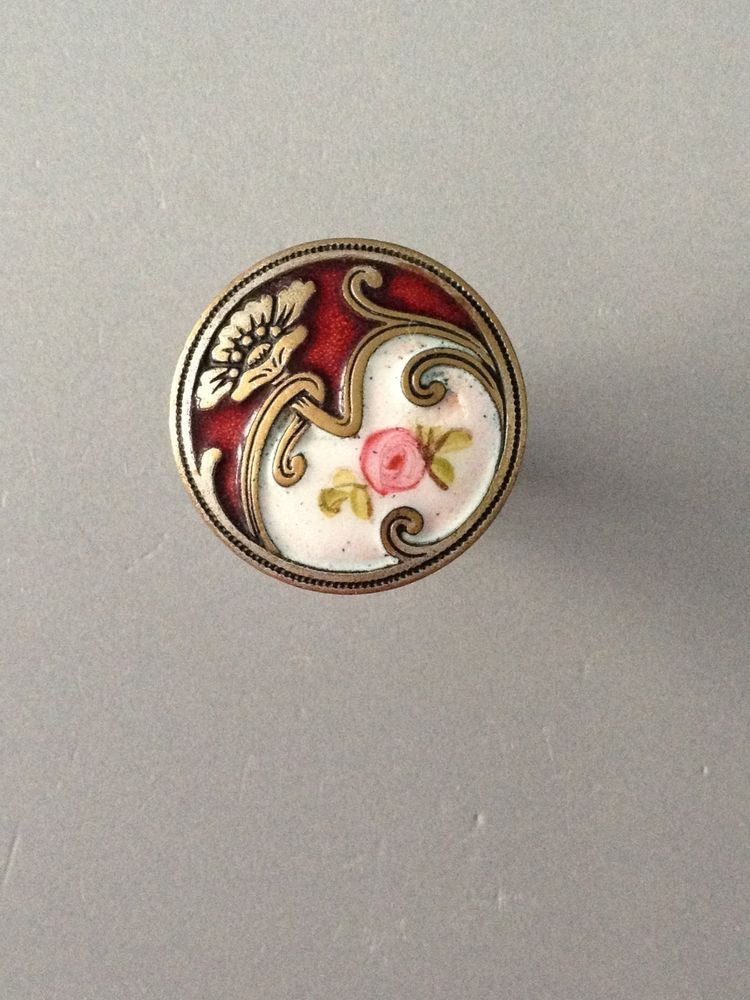 Antique French Enamel Button w/ a Rose Bud  a Silver Flower