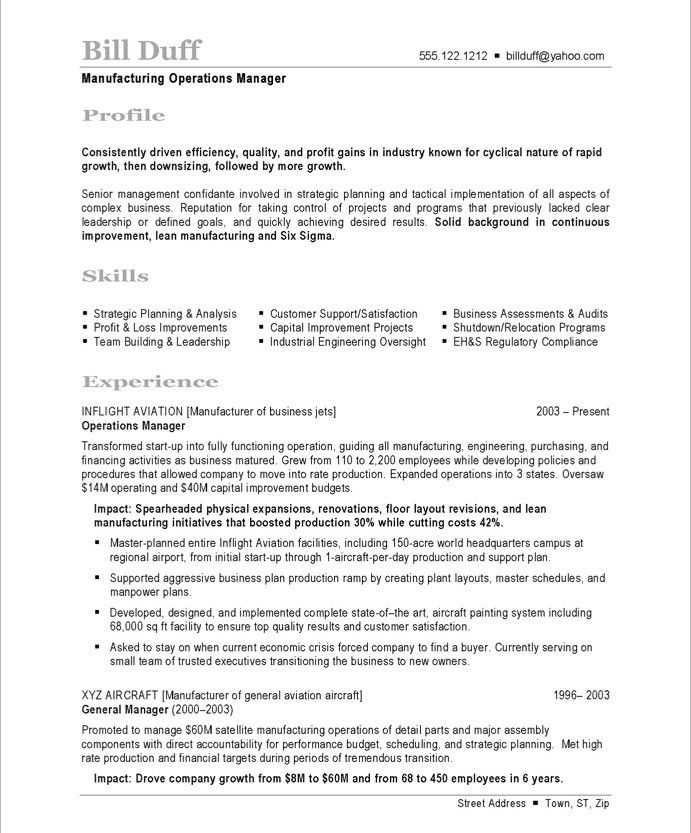 Manufacturing Manager-Page1 Business Resume Samples Pinterest - facilities operations manager sample resume