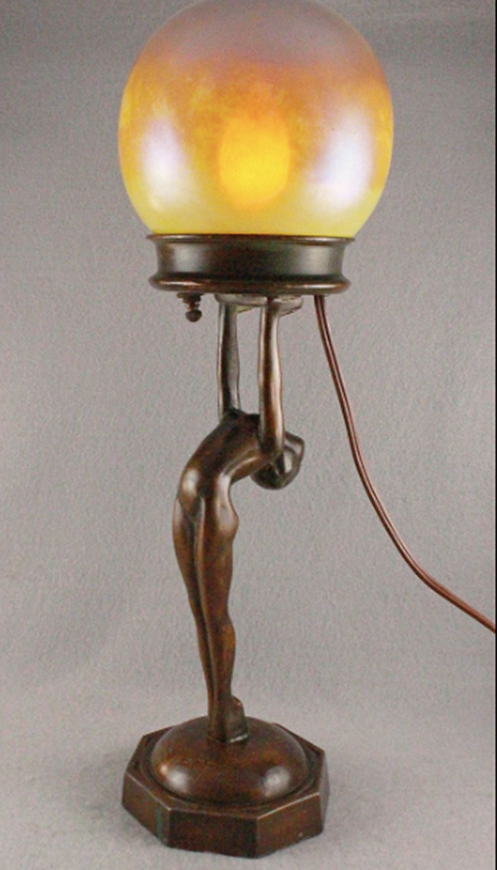 Phenom 1920s Lady Lamp In The Style Of Frankart Nuart With Favrile Style Shade Original Bronze Patina Art Deco Lamps Art Deco Table Lamps Art Deco Lighting