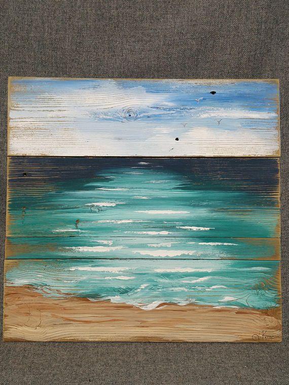 Beach Art Seascape Pallet Beach Painting Shabby Beach