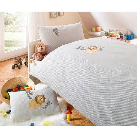Lorena Streifen Kinder Bettwasche Leo Lowe Mako Batist Beige