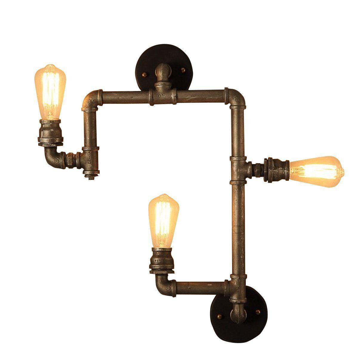 homestia industrial 3 lights retro wasserrohr wandleuchtens wandlampe bronze. Black Bedroom Furniture Sets. Home Design Ideas