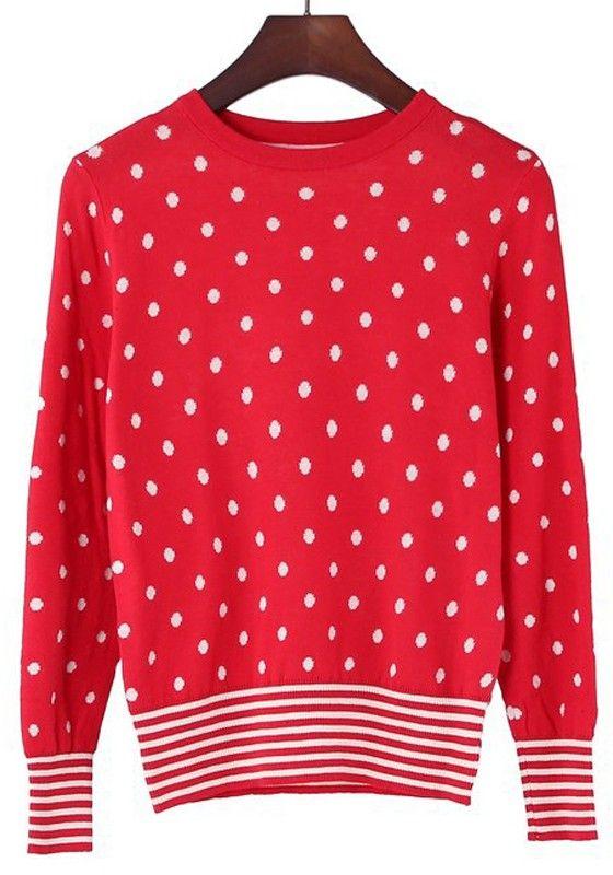 / White Polka Dot Striped Wrap Cotton Blend Sweater