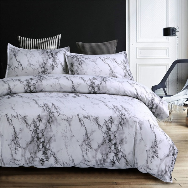 Brief Marble Lines Bedding Set Single Au Eu Double Full Queen King 6 Size Duvet Cover With Pillowcase Set With Images Marble Bed Set Marble Duvet Cover Bed Linens Luxury