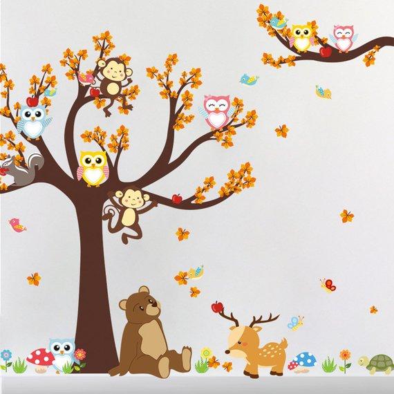 Home Decor Cartoon Forest Tree Branch Animal Owl Monkey Hedgehog Deer Wall Stickers For Kids Rooms Boys Girls Children Bedroom Home Decor
