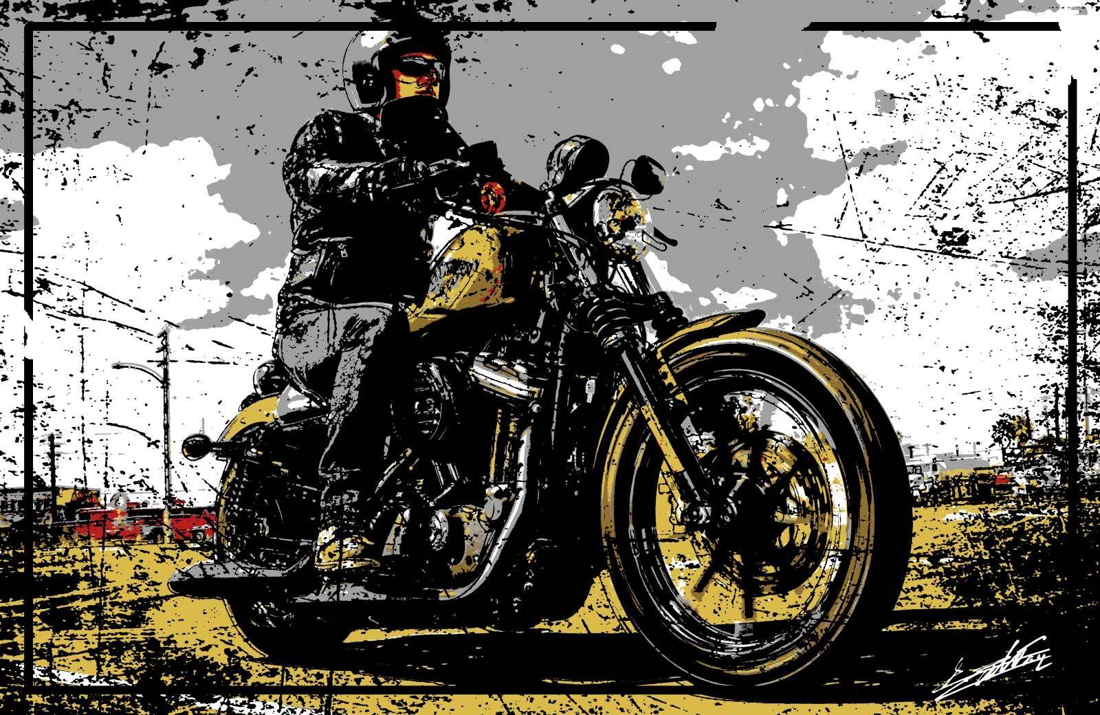 Top Tableau peinture acrylique moderne pop art moto Harley Davidson  XH24