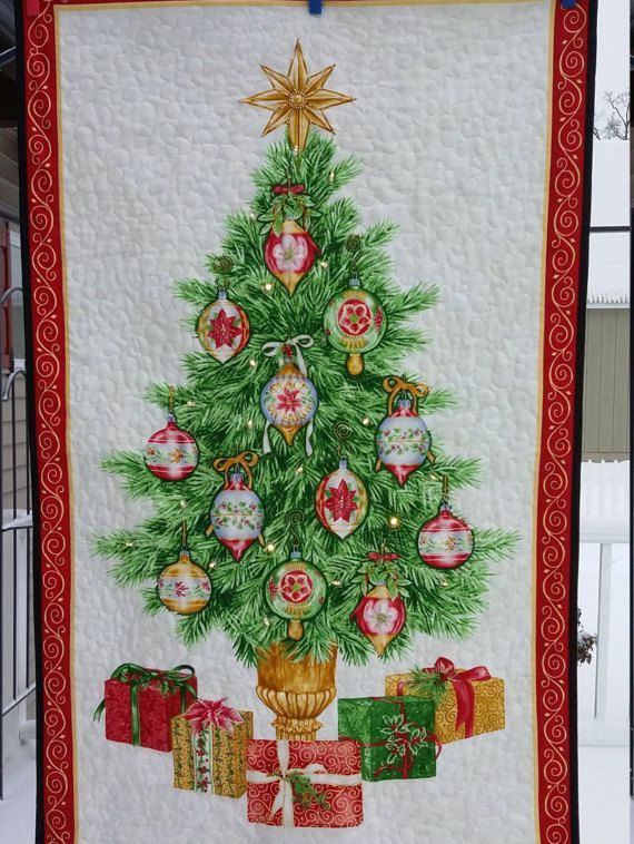 Wall Hanging Christmas Tree quilted christmas tree wall hanging, hand beaded with glass beads