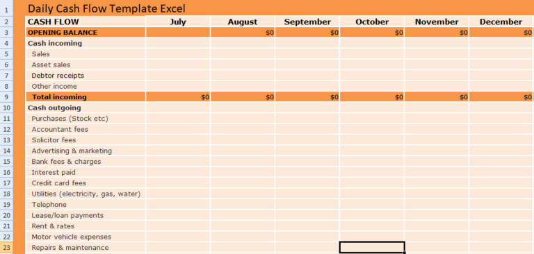 Daily Cash Flow Template Excel Cash Flow How To Be Outgoing Financial Management