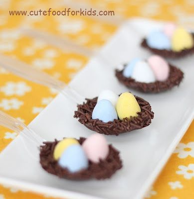 Easter nest dessert spoons (melted chocolate + chocolate eggs + chocolate sprinkles). Quick and easy treat that's fun and a little different.