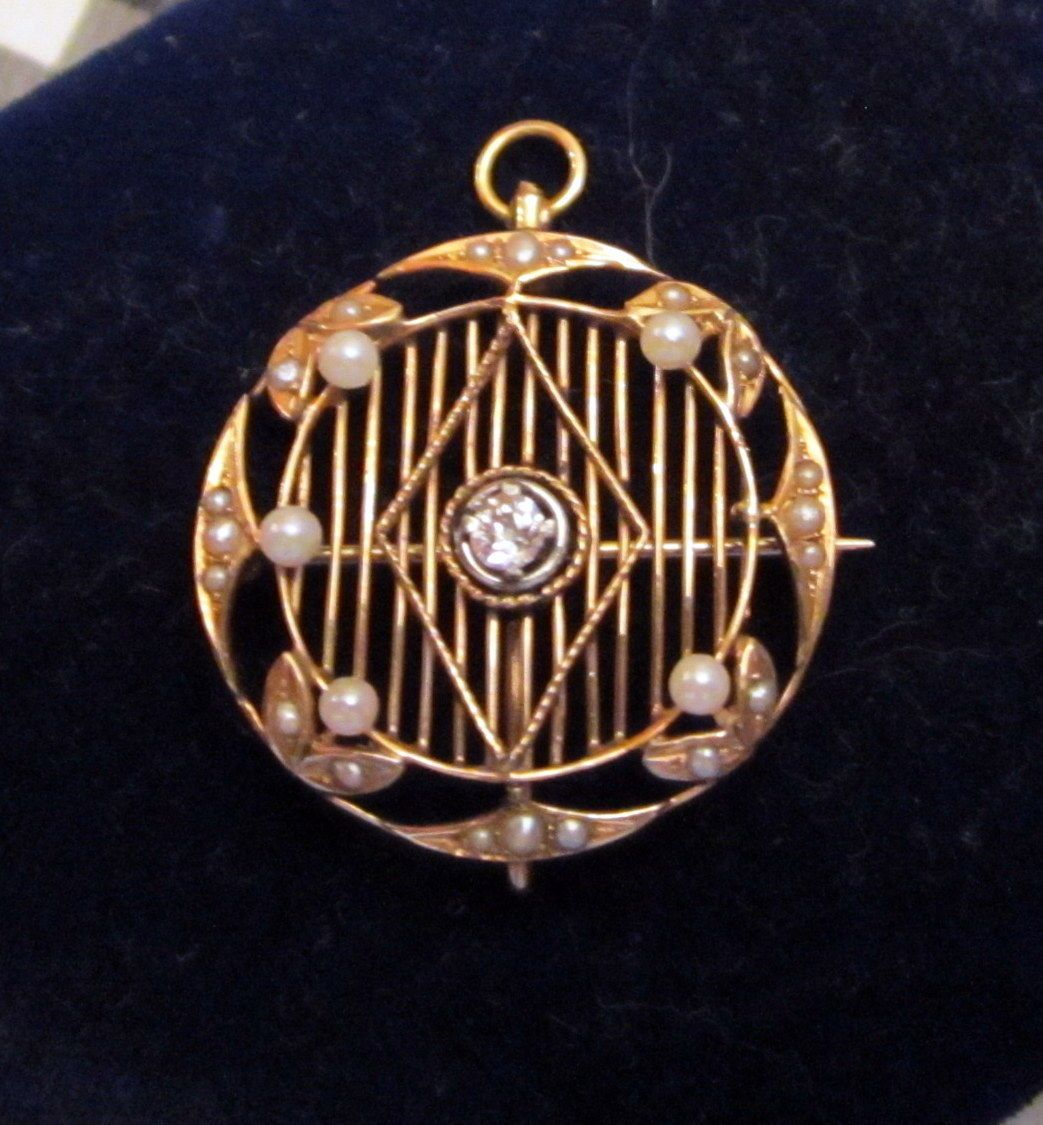 Pearl Round Diamond Ladies Antique 14k Rose Gold Pendant Enhancer 25mm D | eBay