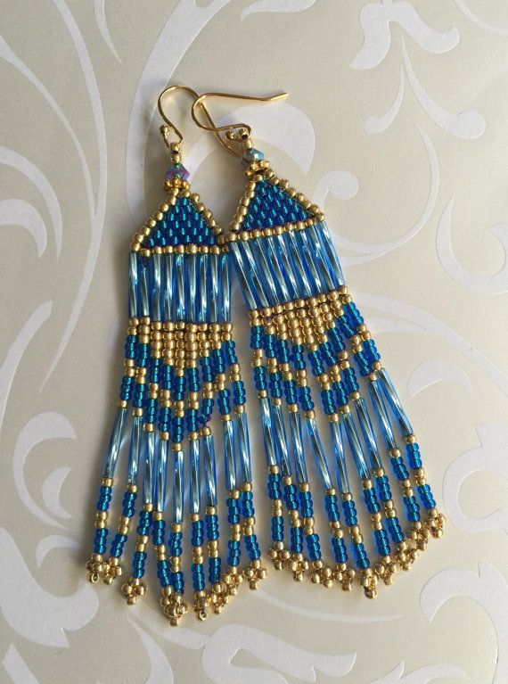 Fringe Earrings Long Gold and Blue Metallic Seed by WorkofHeart