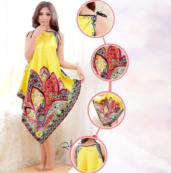 Sexy Sexy Women Imitated Silk Sleepwear Robes Dress Night Skirt Nighty  Nightgowns Color Rose Yellow Red f45b3717d
