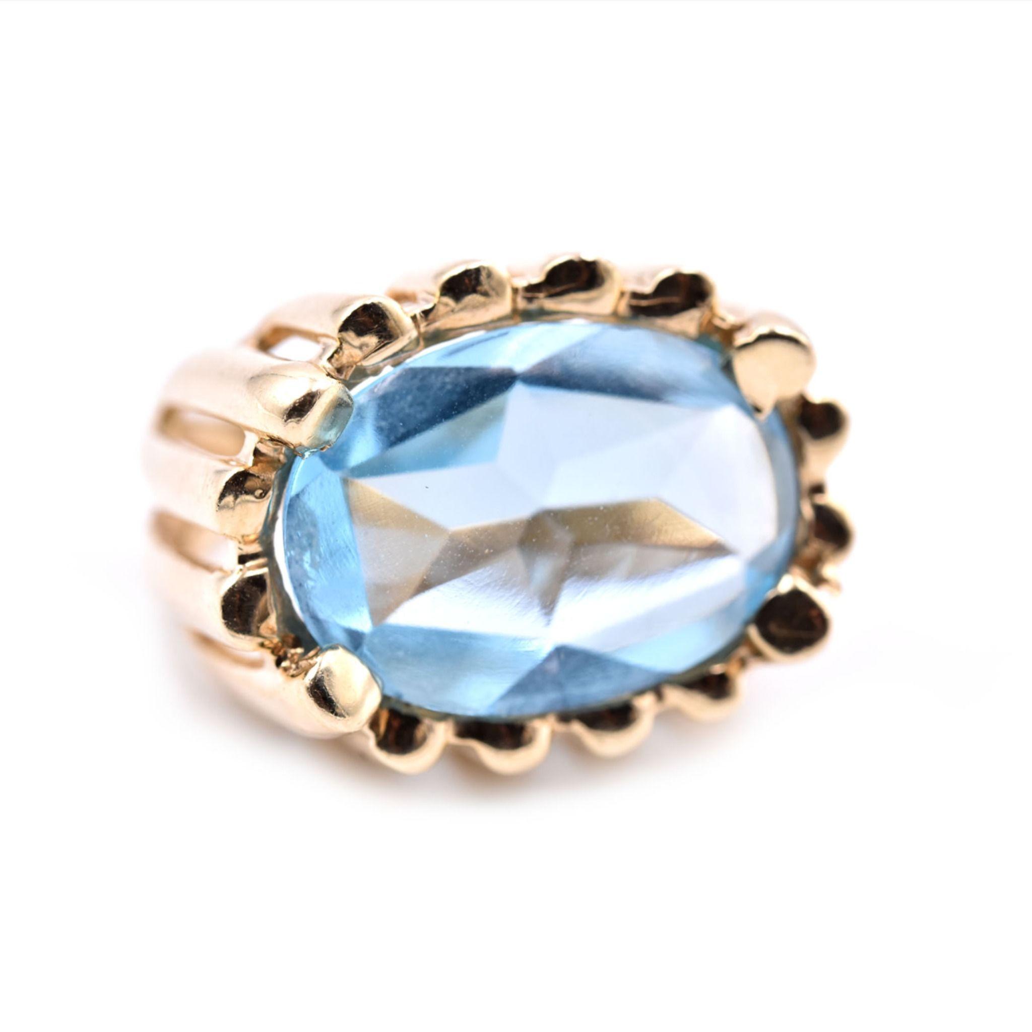 Vintage 14k Yellow Gold Blue Topaz Cabochon 200 1888 Jewelry From The Estate Watch Jewelry Company Scottsdale Az Gold Topaz Topaz Jewelry