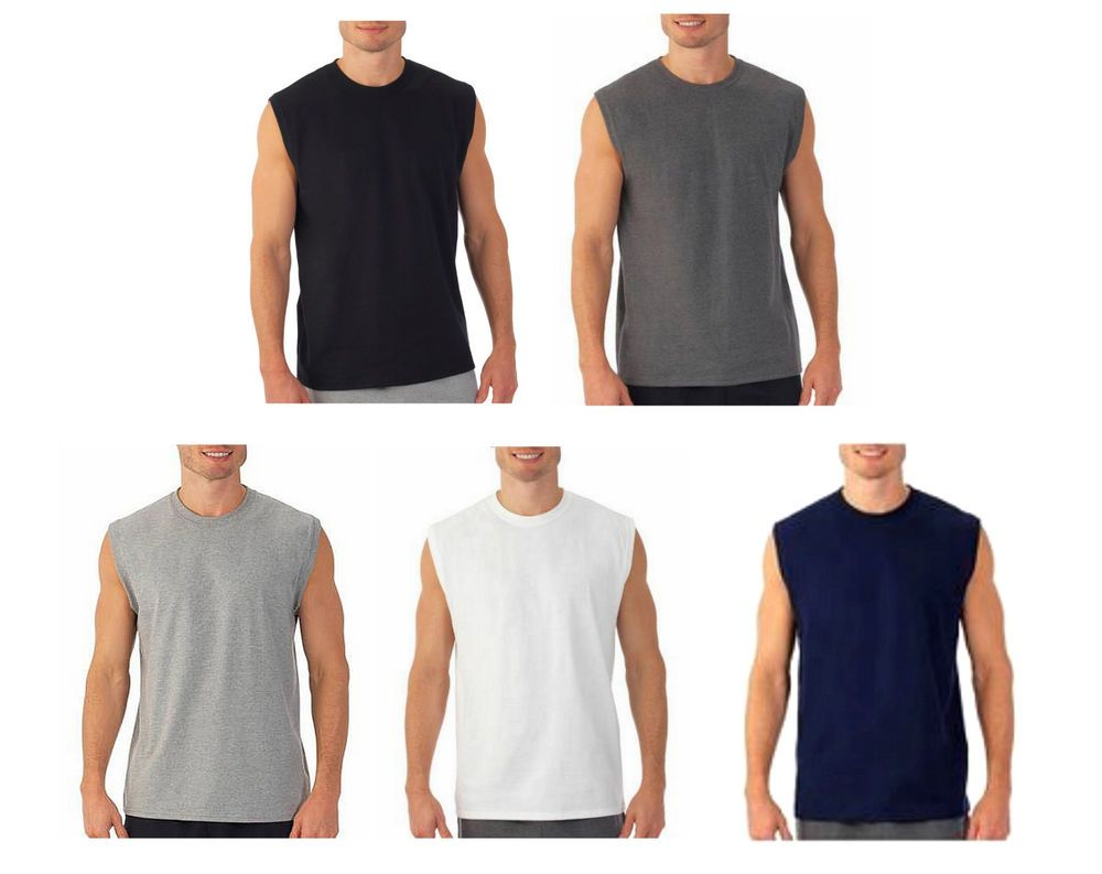 64ec59ed544a4 Mens Sleeveless Muscle Tee Cotton Solid Blank Tank T Shirt Hot Summer Gym  Top