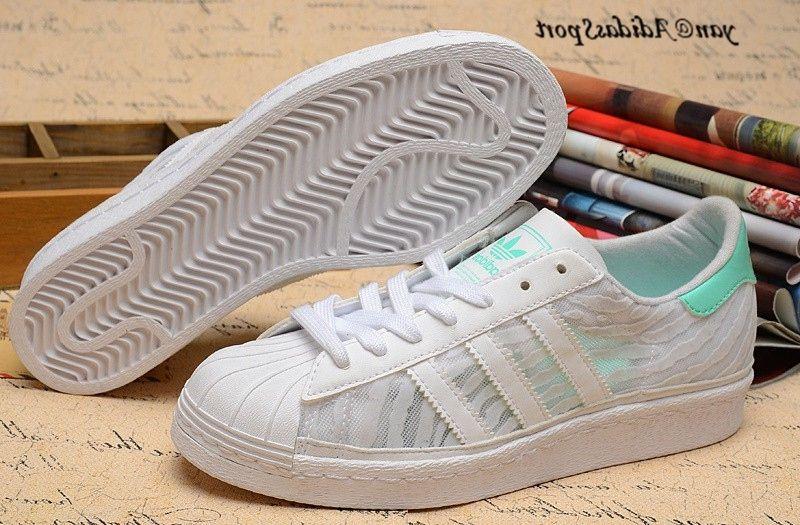 Blanc Turquoise Superstar 80s Femmes Summer Mesh Chaussures