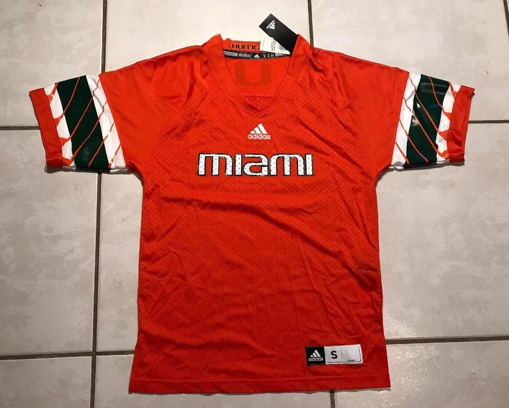 NWT ADIDAS Miami Hurricanes NCAA BLANK Football Jersey Men s Small ... a4937af3c